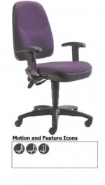 Royston Task Back Operators Chair Illustrated With Optional Adjustable Arms